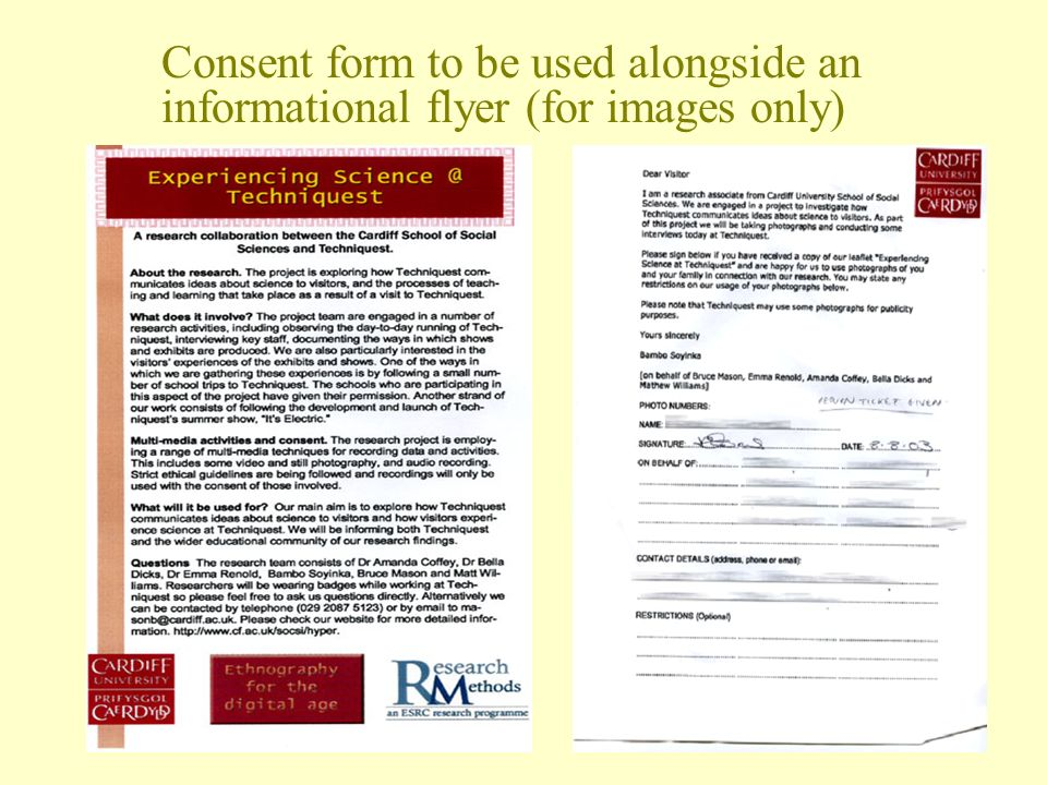 Consent form to be used alongside an informational flyer (for images only)
