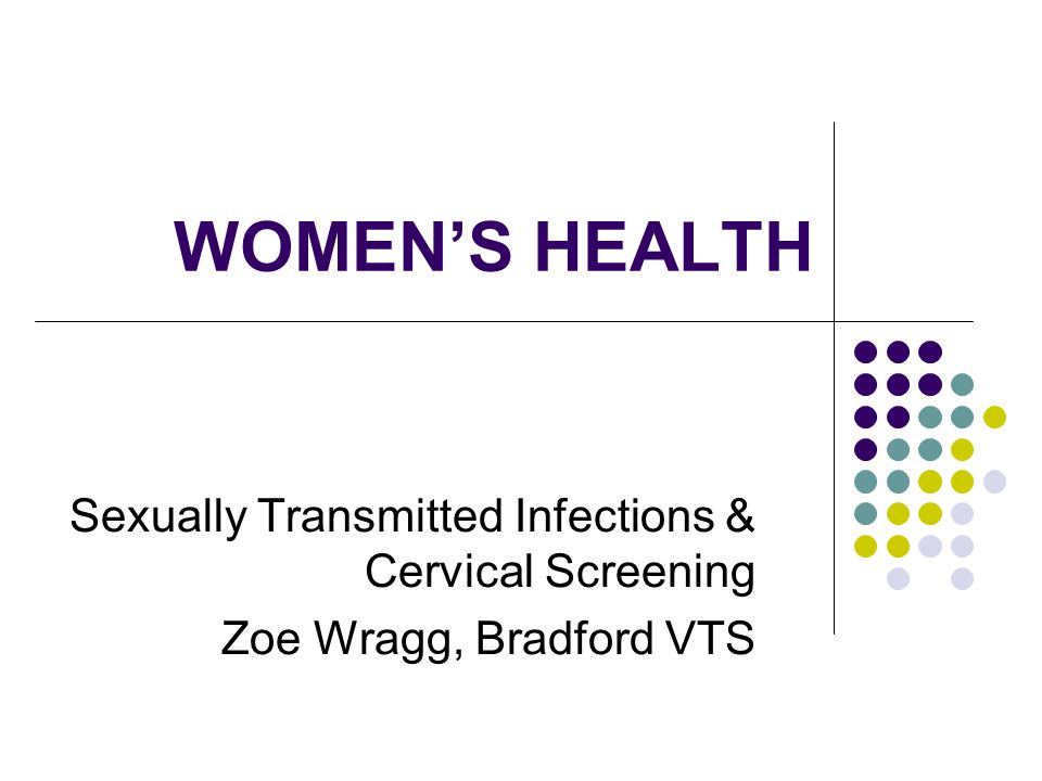 WOMENS HEALTH Sexually Transmitted Infections & Cervical Screening Zoe Wragg, Bradford VTS