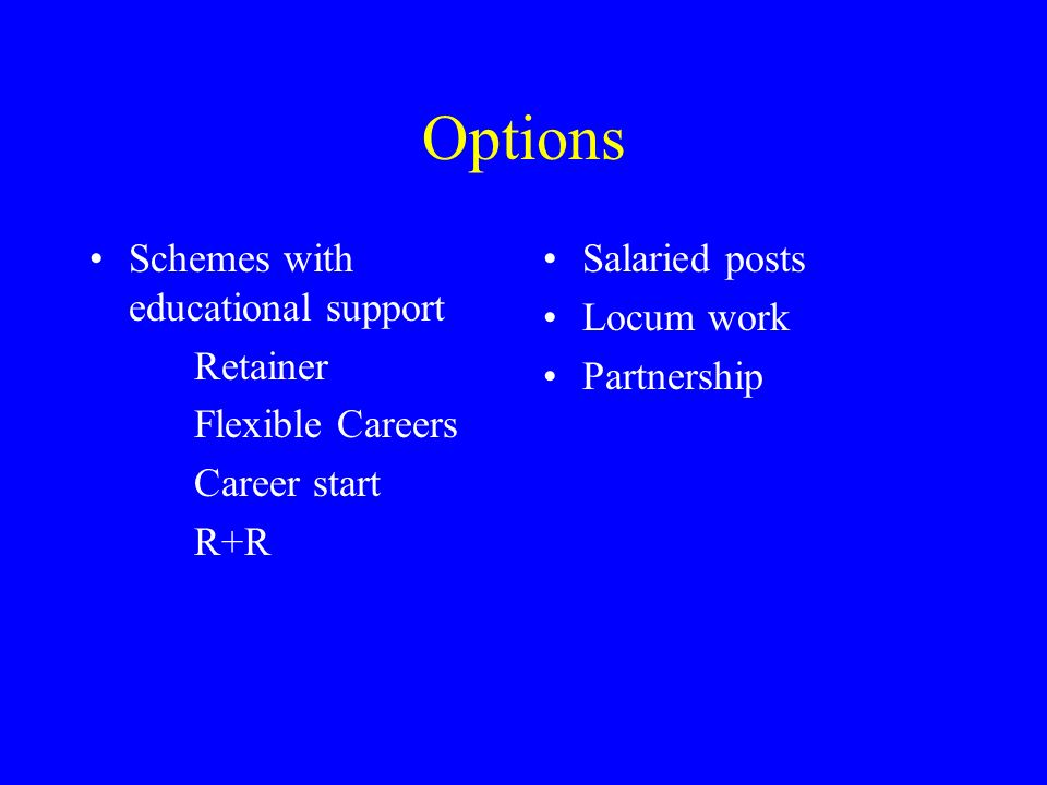 Options Schemes with educational support Retainer Flexible Careers Career start R+R Salaried posts Locum work Partnership