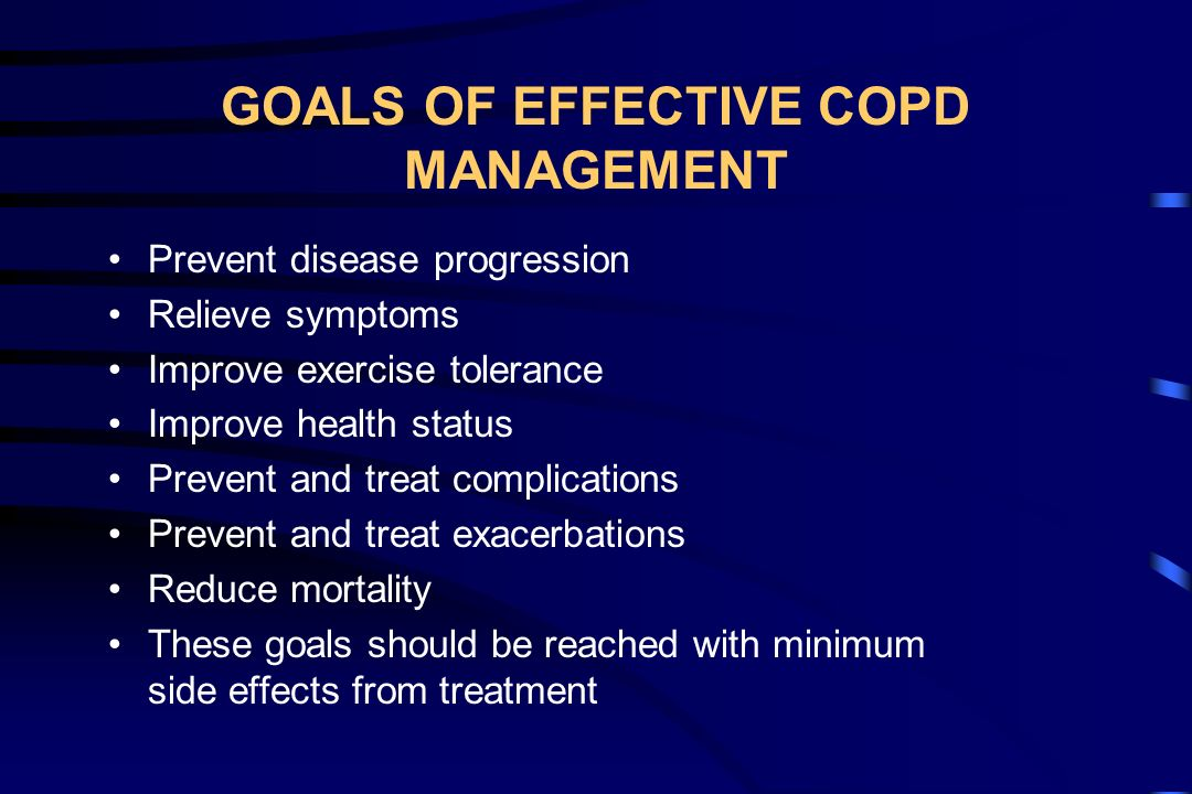 COMPONENTS OF COPD GUIDELINES Assess and monitor disease Decrease risk factors Manage stable COPD Manage exacerbations