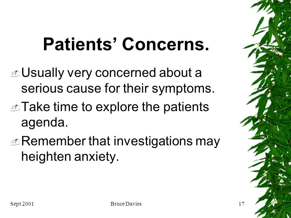 Sept 2001Bruce Davies16 Treatment Patients concerns. Explanation. Treatment approaches.