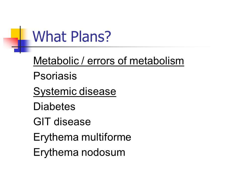 What Plans? Metabolic / errors of metabolism Psoriasis Systemic disease Diabetes GIT disease Erythema multiforme Erythema nodosum
