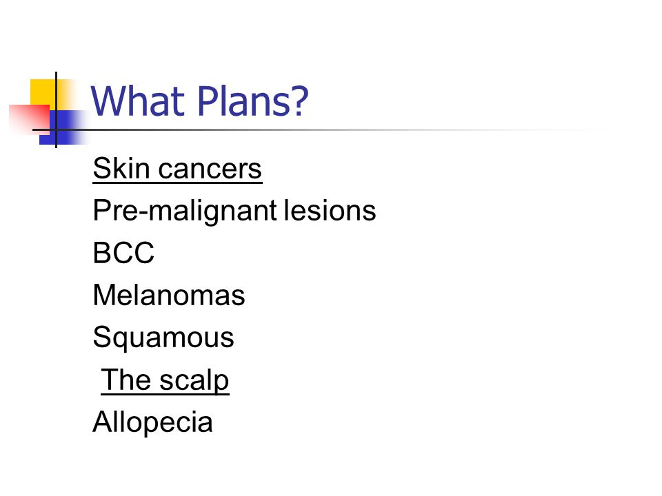 What Plans? Skin cancers Pre-malignant lesions BCC Melanomas Squamous The scalp Allopecia