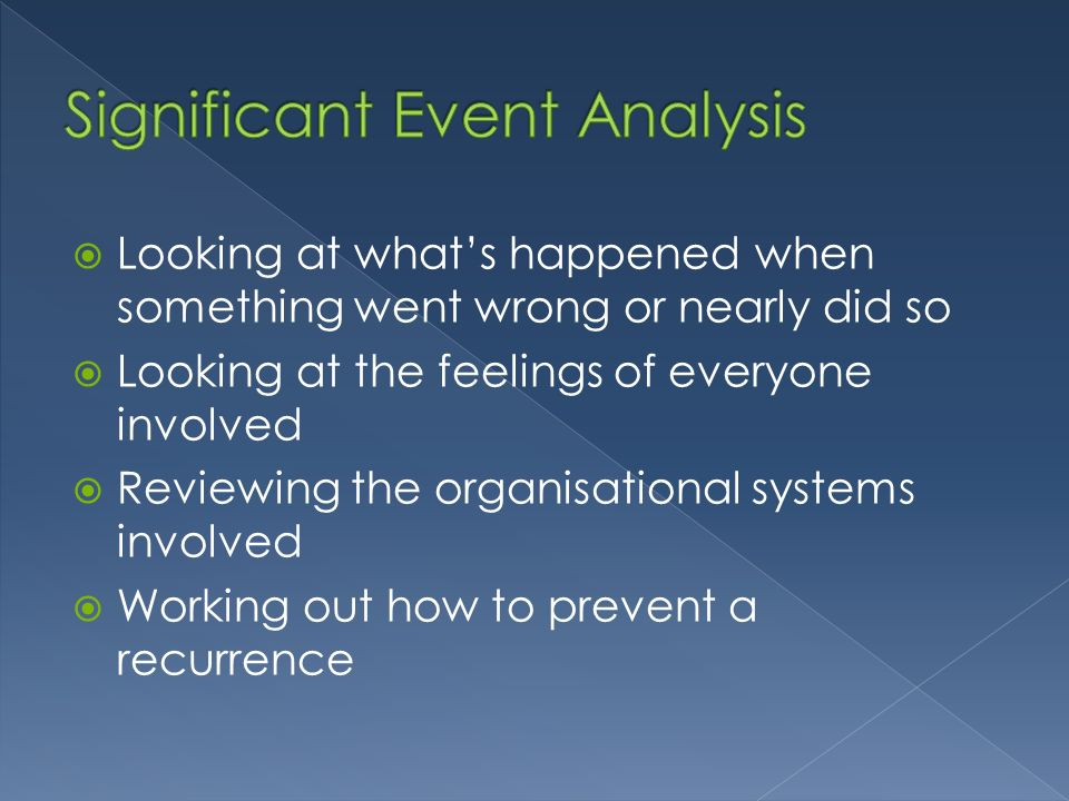 Looking at whats happened when something went wrong or nearly did so Looking at the feelings of everyone involved Reviewing the organisational systems involved Working out how to prevent a recurrence
