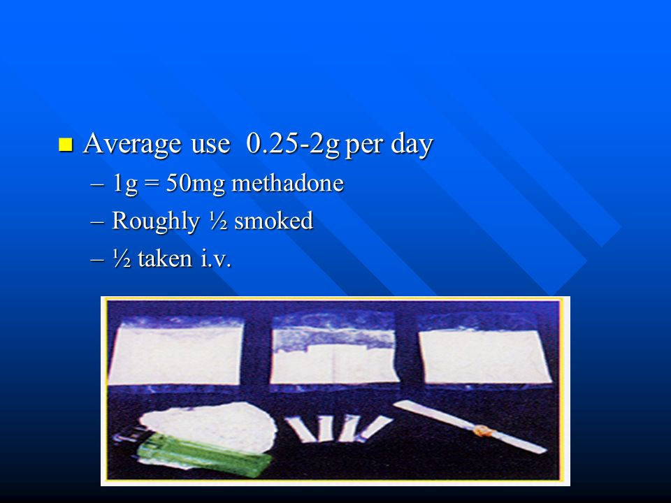 Average use 0.25-2g per day Average use 0.25-2g per day –1g = 50mg methadone –Roughly ½ smoked –½ taken i.v.