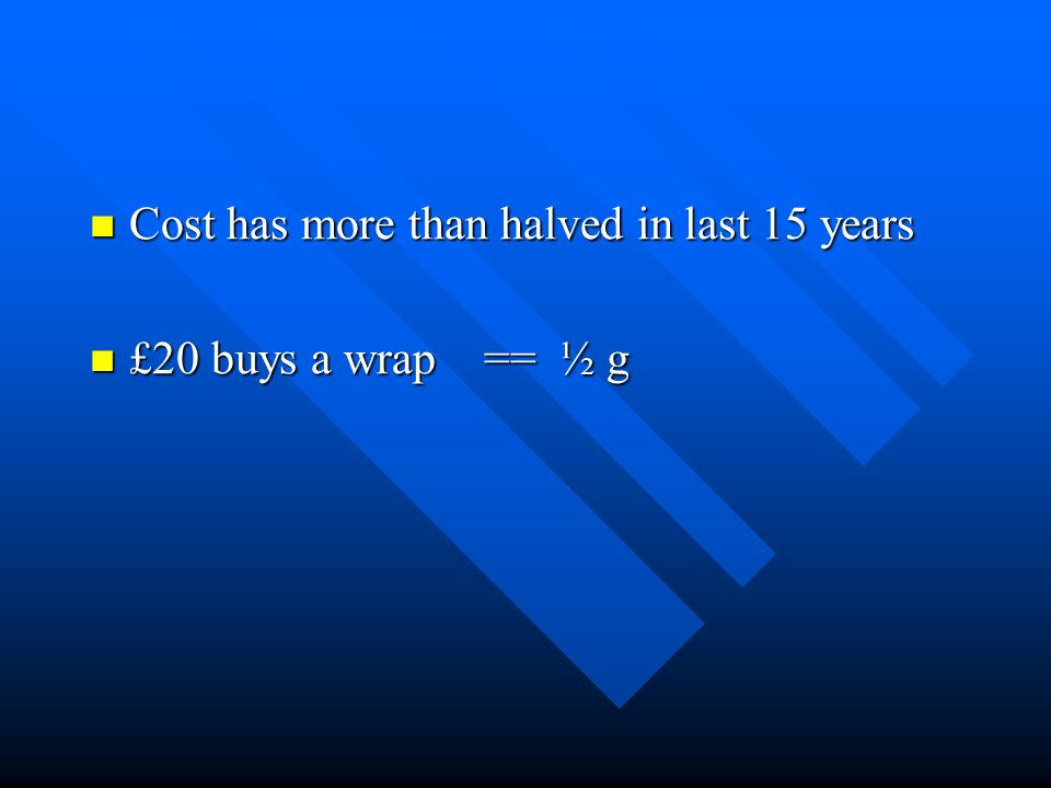 Cost has more than halved in last 15 years Cost has more than halved in last 15 years £20 buys a wrap == ½ g £20 buys a wrap == ½ g