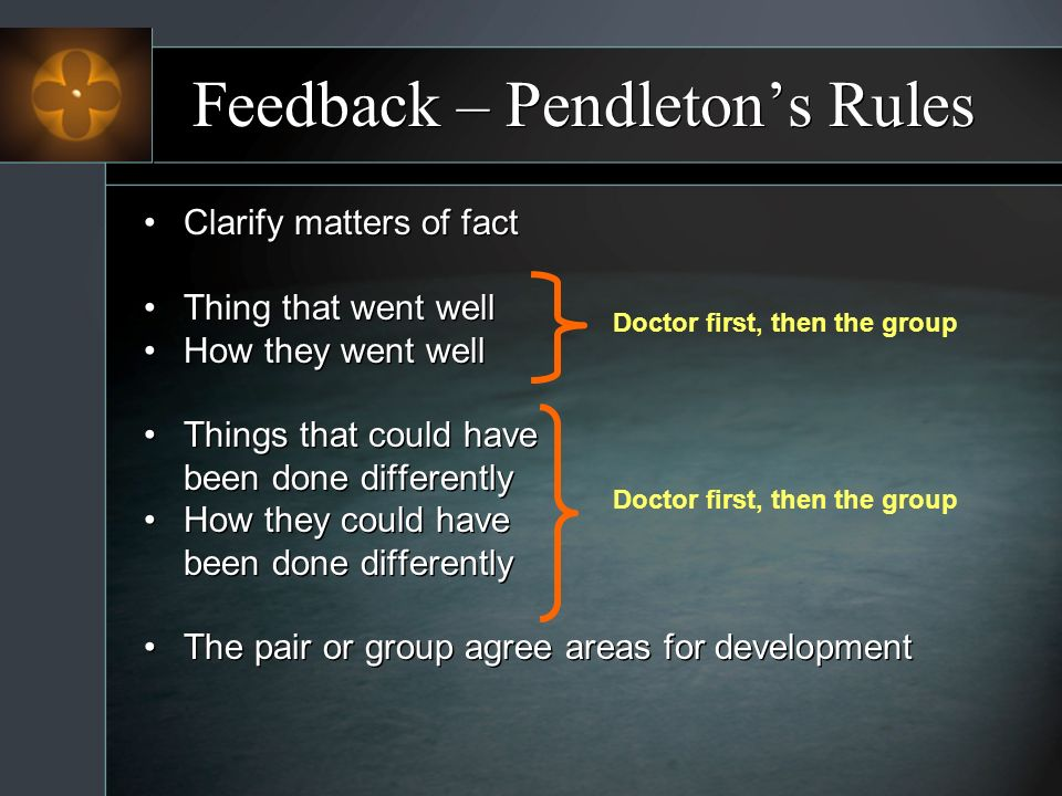 Feedback – Pendletons Rules Clarify matters of fact Thing that went well How they went well Things that could have been done differently How they could have been done differently The pair or group agree areas for development Clarify matters of fact Thing that went well How they went well Things that could have been done differently How they could have been done differently The pair or group agree areas for development Doctor first, then the group
