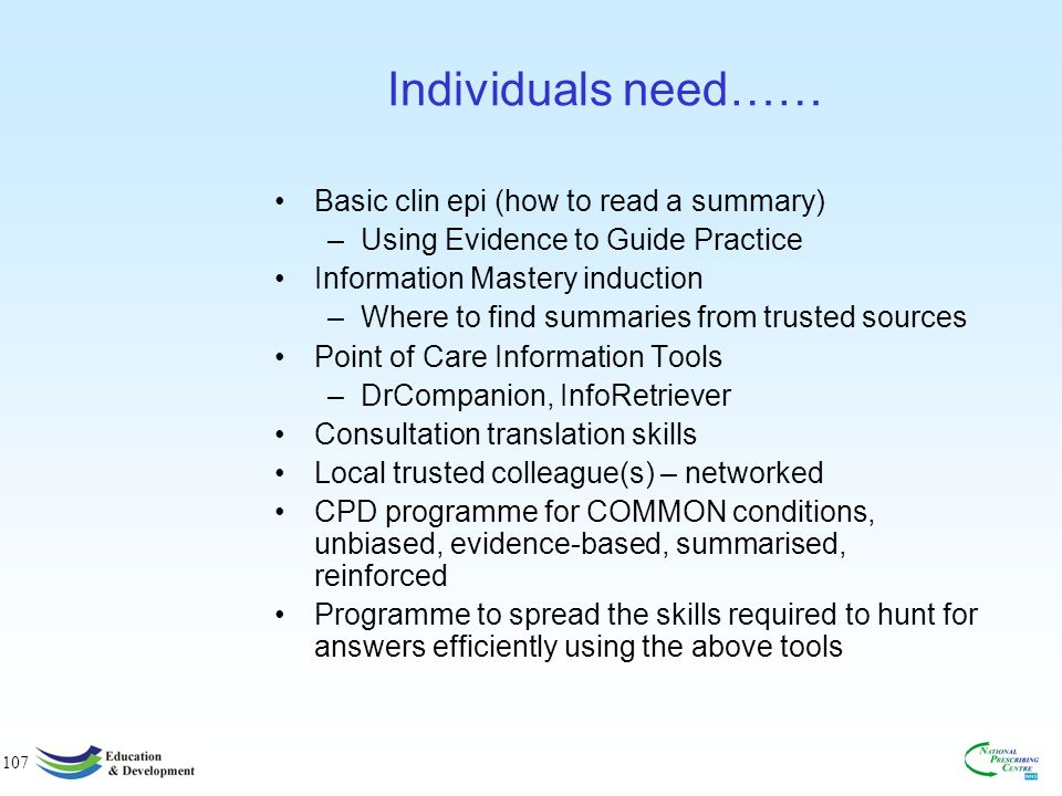 106 Post-modern EBM skills 1. Recognise the need to check mindlines 2.
