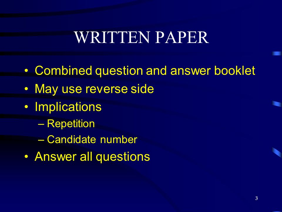 4 WRITTEN PAPER Four question types –test of general practice literature knowledge (CRQ) –test of evaluation of written material (CRQ) –test of ability to integrate and apply theoretical knowledge and professional values (MEQ) –new formats