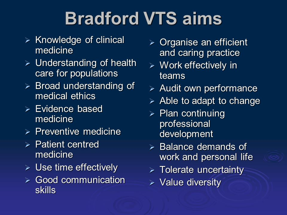 Bradford VTS aims Knowledge of clinical medicine Knowledge of clinical medicine Understanding of health care for populations Understanding of health c