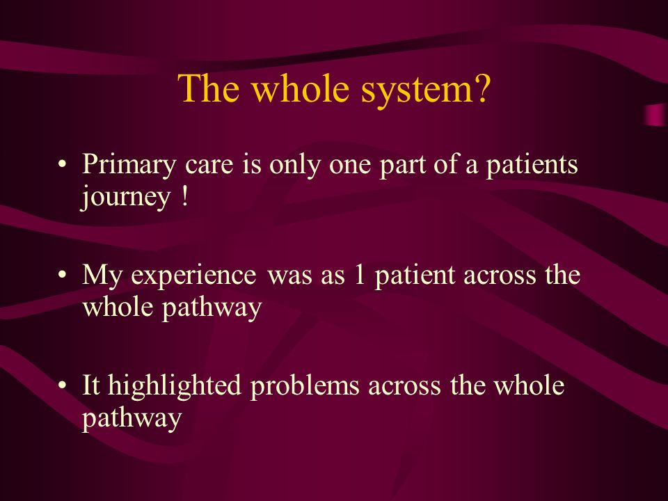 The whole system. Primary care is only one part of a patients journey .