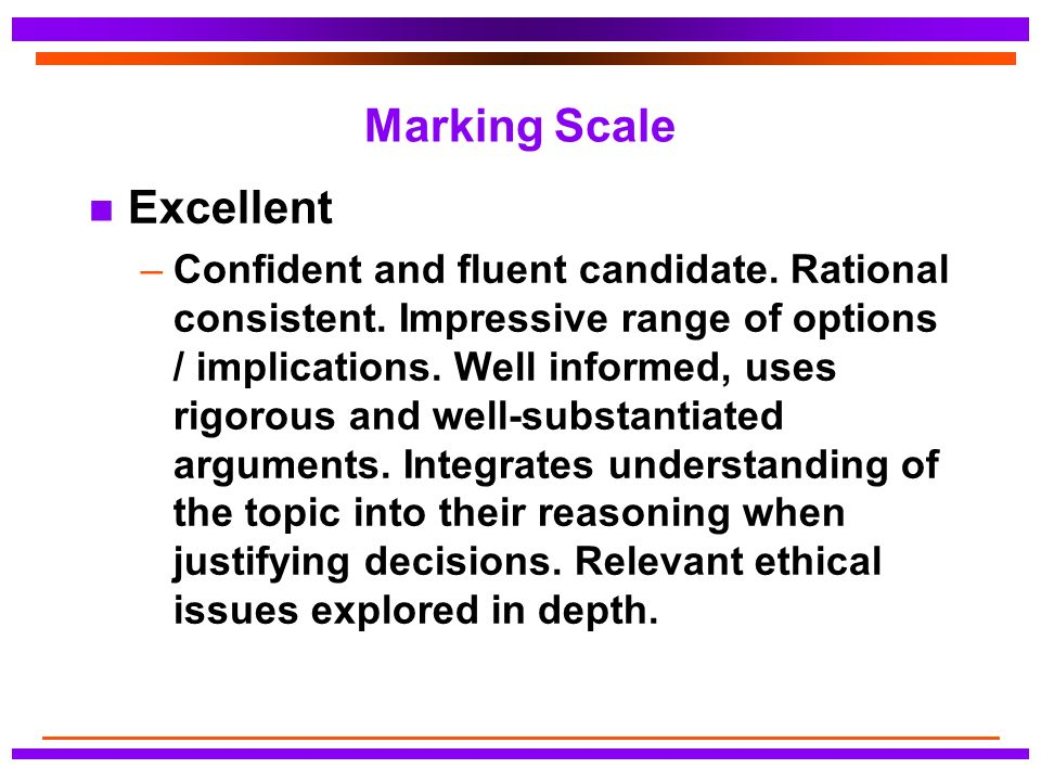 Marking Scale n Excellent –Confident and fluent candidate.