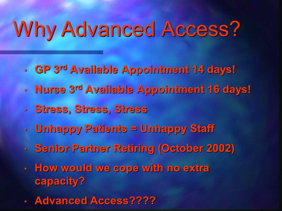 Success GP 3rd available appointment 0.42 days (from 14) GP 3rd available appointment 0.42 days (from 14) Nurse 3rd available appointment 3.13 days (from 16) Nurse 3rd available appointment 3.13 days (from 16) Happy Patients Happy Patients Happy Staff Happy Staff Happier GPs - well you cant please everyone.