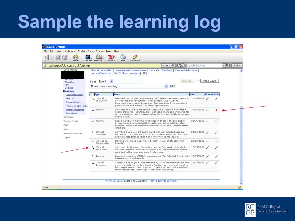 Sample the learning log