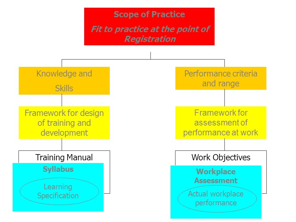 Scope of Practice Fit to practice at the point of Registration Knowledge and Skills Performance criteria and range Framework for design of training and development Framework for assessment of performance at work Training Manual Syllabus Learning Specification Work Objectives Workplace Assessment Actual workplace performance