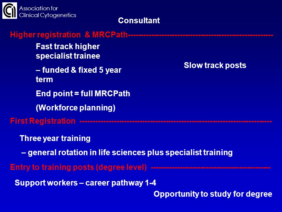 Association for Clinical Cytogenetics Support workers – career pathway 1-4 Opportunity to study for degree Entry to training posts (degree level) ---------------------------------------------- Three year training – general rotation in life sciences plus specialist training First Registration -------------------------------------------------------------------------- Fast track higher specialist trainee – funded & fixed 5 year term End point = full MRCPath (Workforce planning) Slow track posts Higher registration & MRCPath-------------------------------------------------------- Consultant