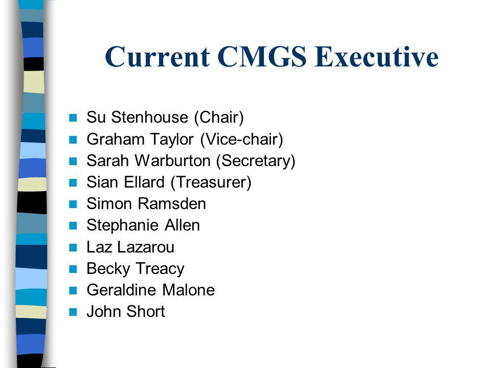 Current CMGS Executive Su Stenhouse (Chair) Graham Taylor (Vice-chair) Sarah Warburton (Secretary) Sian Ellard (Treasurer) Simon Ramsden Stephanie All