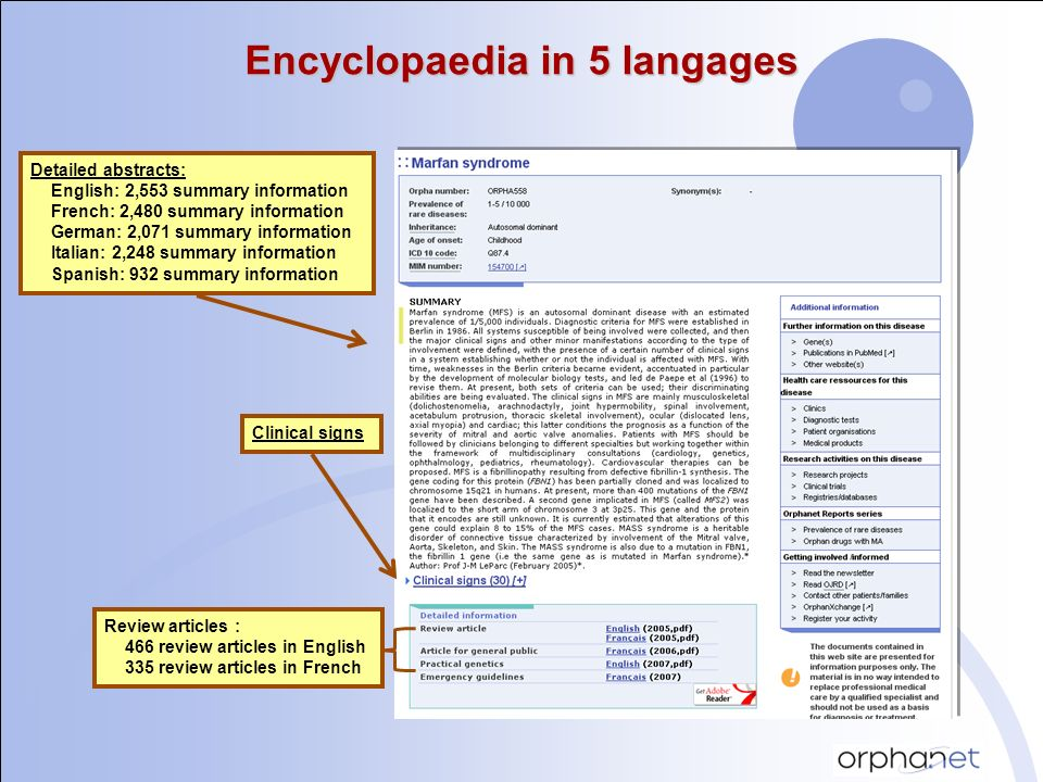 Encyclopaedia in 5 langages Detailed abstracts: English: 2,553 summary information French: 2,480 summary information German: 2,071 summary information