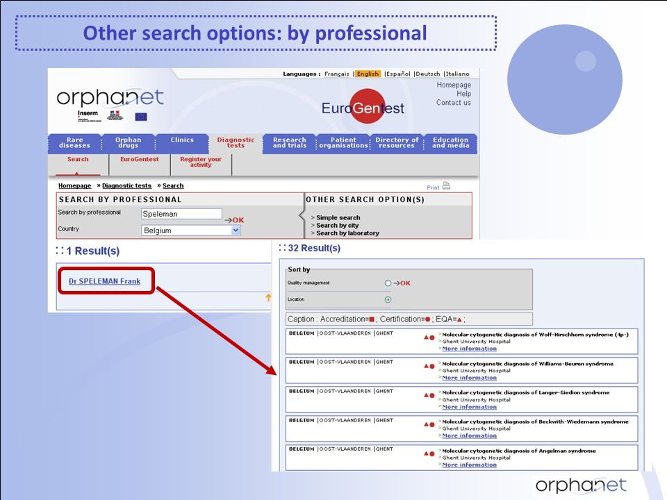 Other search options: by professional