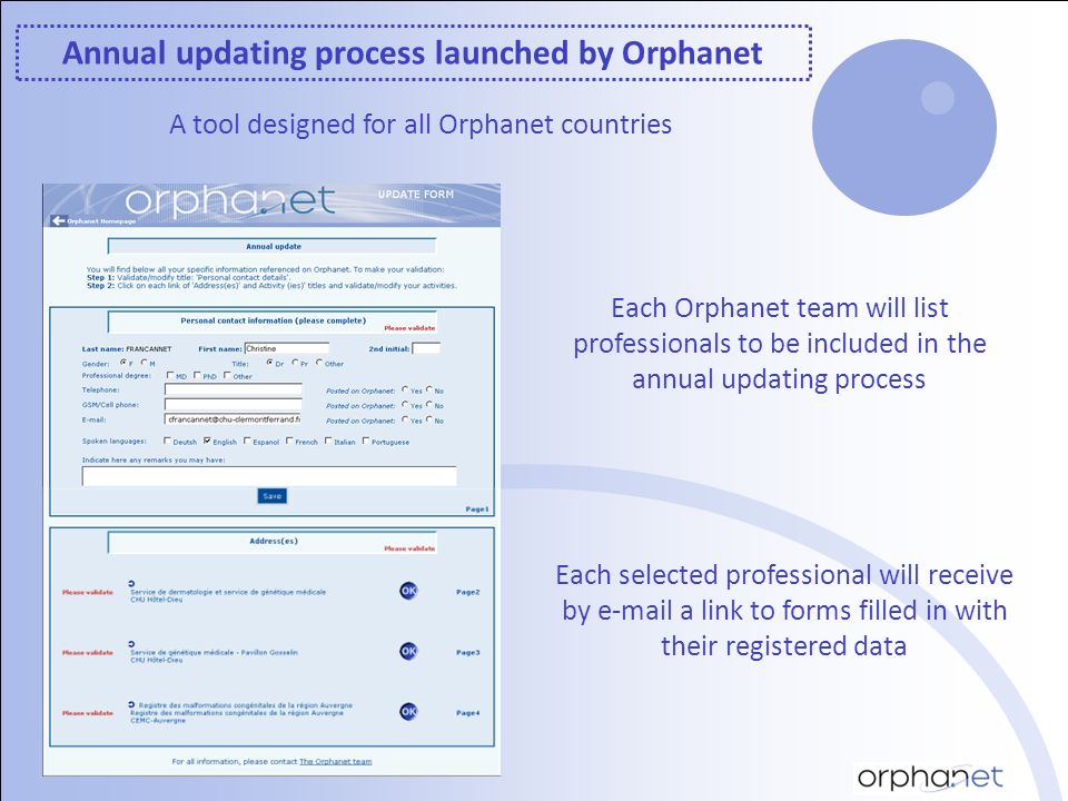 Annual updating process launched by Orphanet A tool designed for all Orphanet countries Each Orphanet team will list professionals to be included in the annual updating process Each selected professional will receive by e-mail a link to forms filled in with their registered data