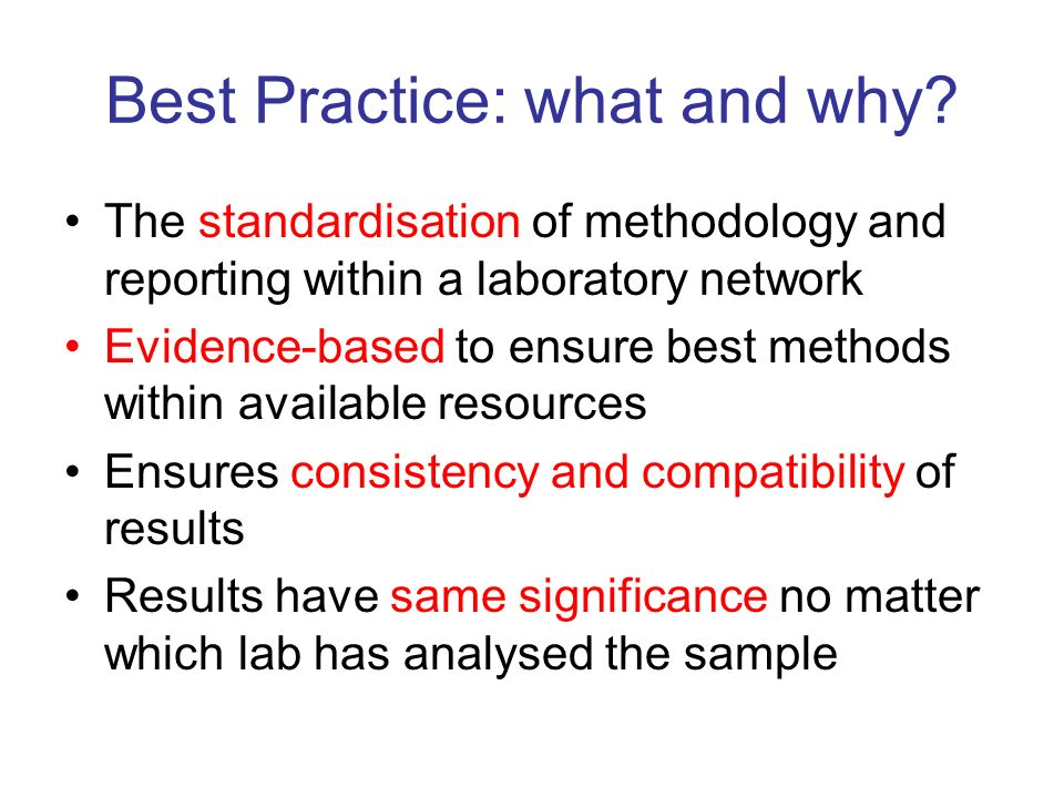 Best Practice: what and why.