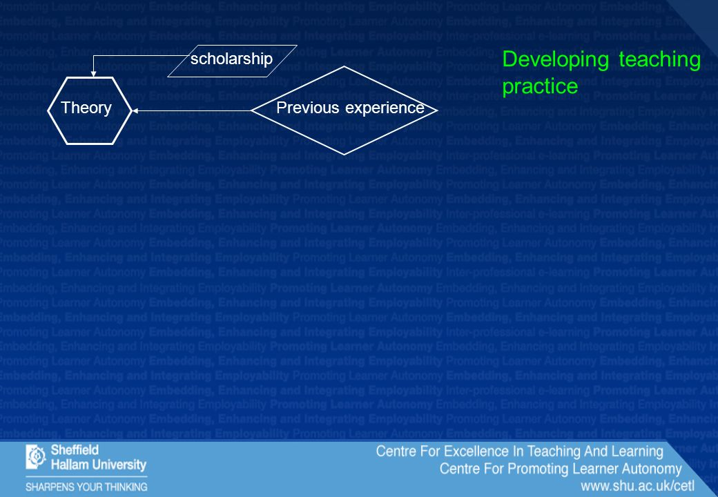 Previous experienceTheory Developing teaching practice scholarship