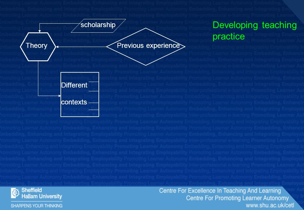 Previous experienceTheory Different contexts Developing teaching practice scholarship