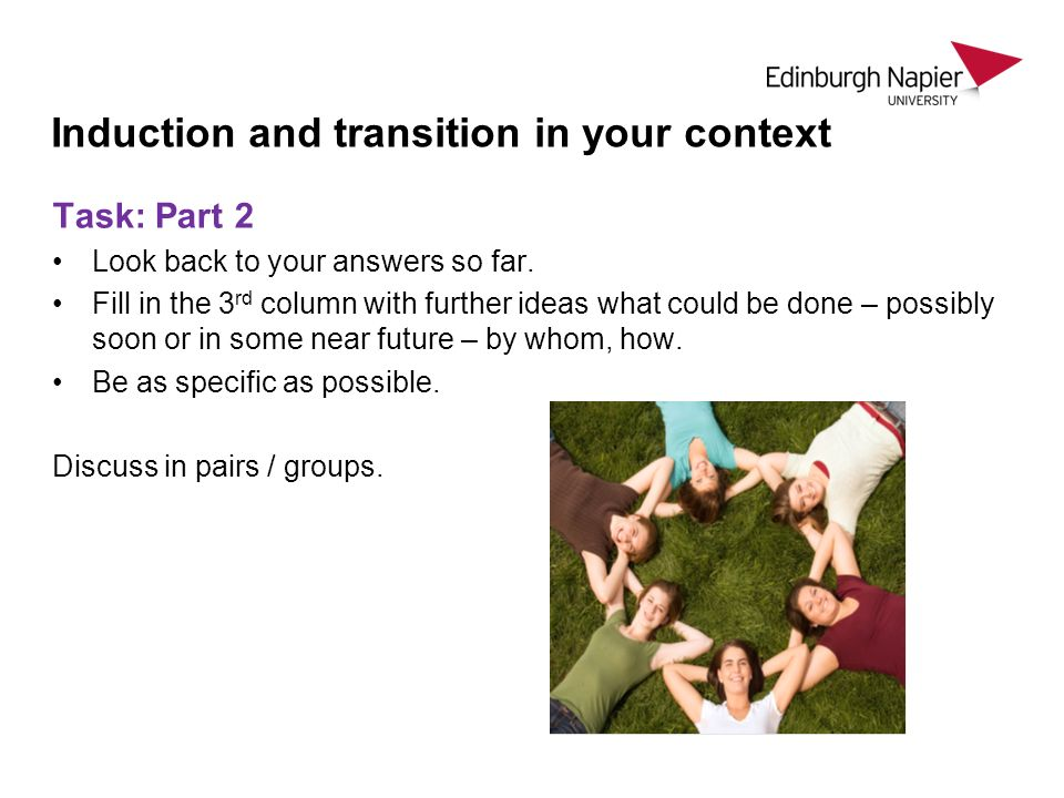 Induction and transition in your context Task: Part 2 Look back to your answers so far.