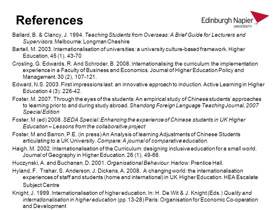 References Ballard, B. & Clancy, J. 1994. Teaching Students from Overseas: A Brief Guide for Lecturers and Supervisors. Melbourne: Longman Cheshire Ba