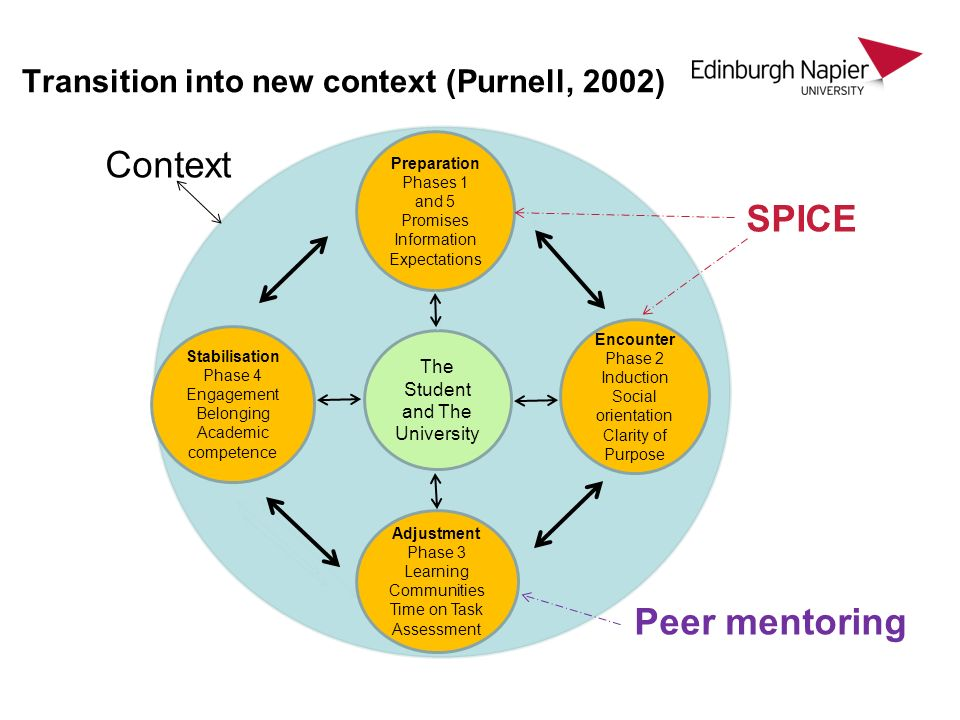 Transition into new context (Purnell, 2002) Context SPICE Peer mentoring Sp Encounter Phase 2 Induction Social orientation Clarity of Purpose Preparation Phases 1 and 5 Promises Information Expectations Stabilisation Phase 4 Engagement Belonging Academic competence Adjustment Phase 3 Learning Communities Time on Task Assessment The Student and The University