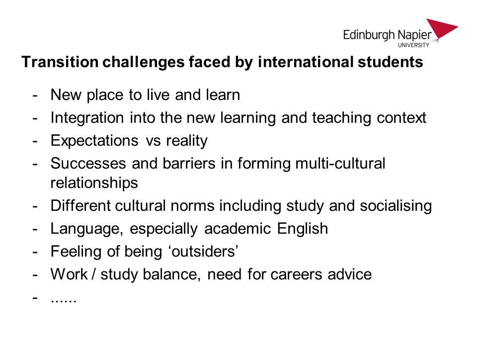 Transition challenges faced by international students How do universities address them.