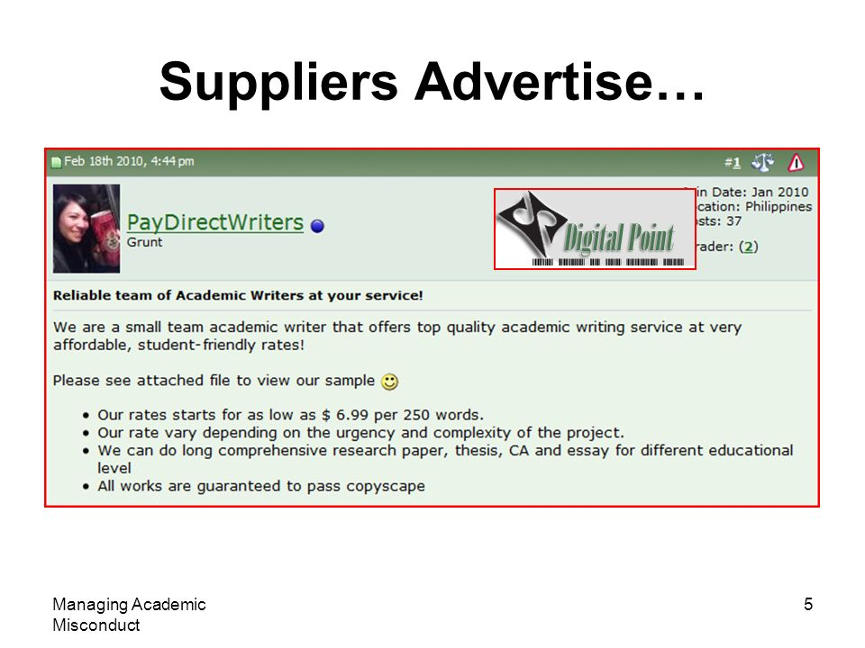 Suppliers Advertise… Managing Academic Misconduct 5