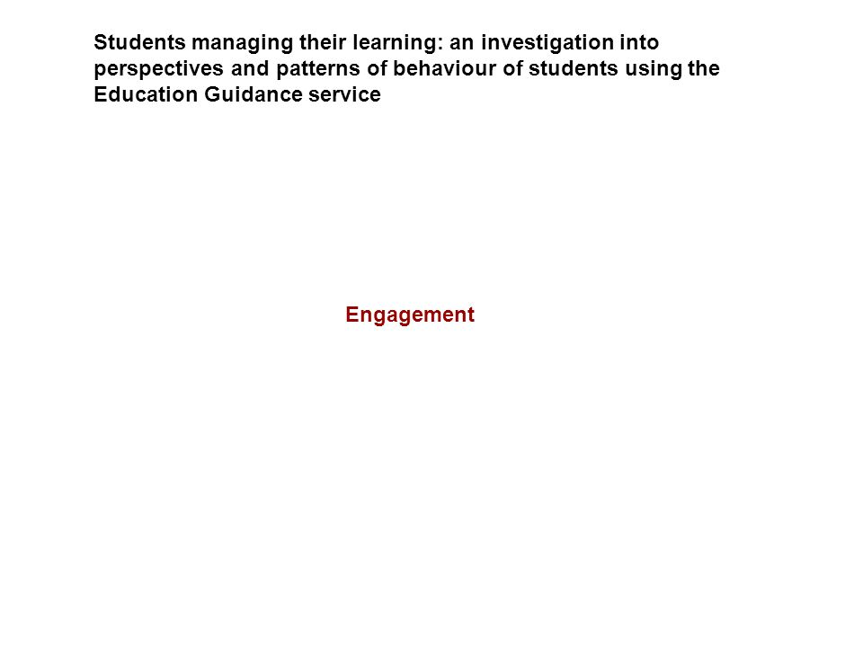 Students managing their learning: an investigation into perspectives and patterns of behaviour of students using the Education Guidance service Engage