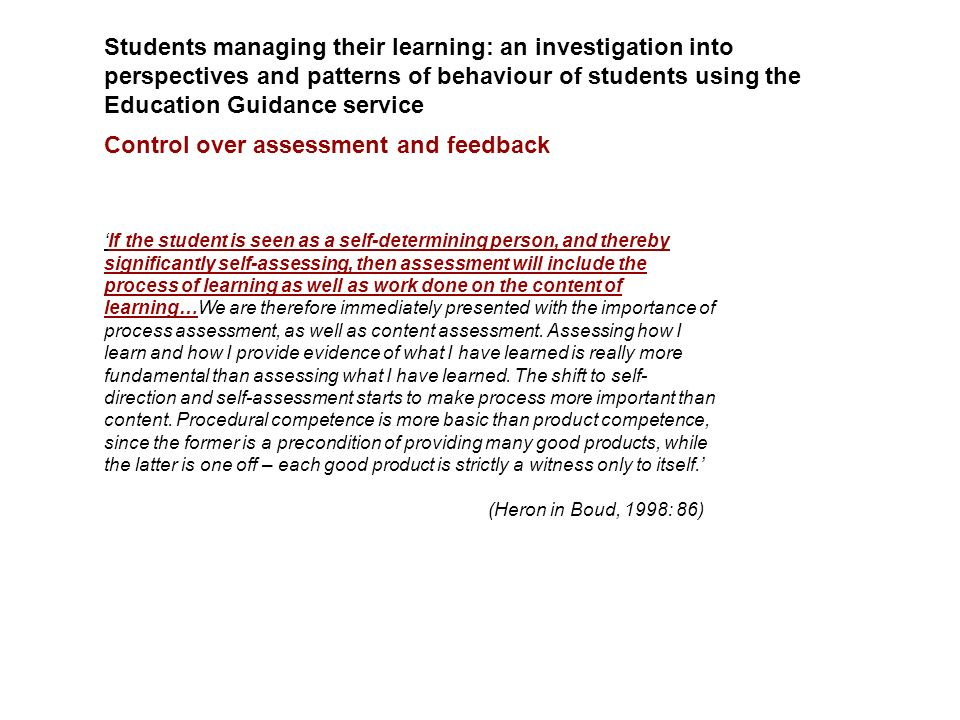 Students managing their learning: an investigation into perspectives and patterns of behaviour of students using the Education Guidance service Contro
