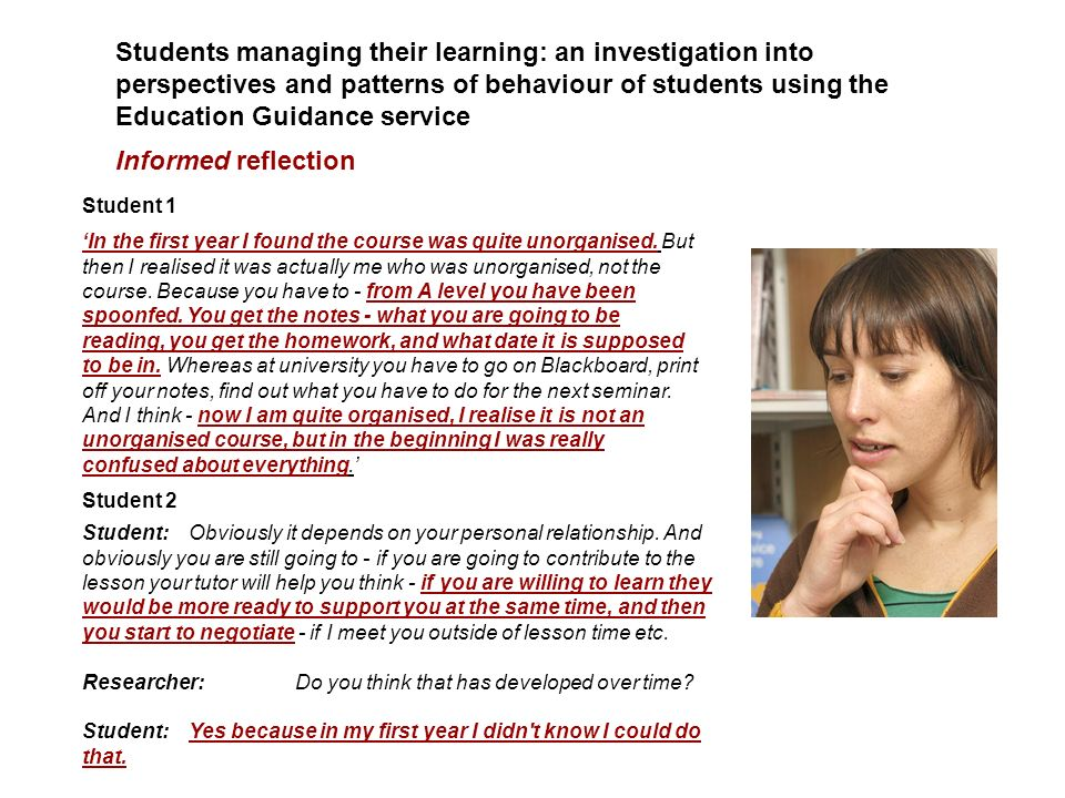 Students managing their learning: an investigation into perspectives and patterns of behaviour of students using the Education Guidance service Inform