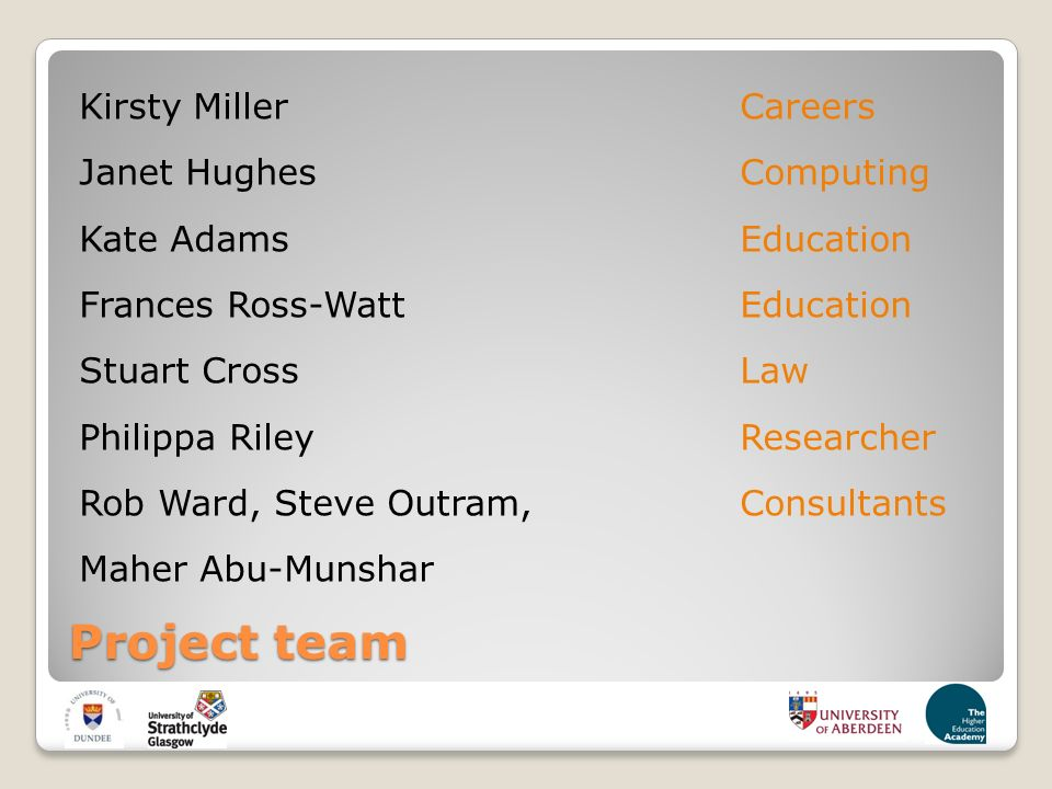 Project team Kirsty MillerCareers Janet HughesComputing Kate AdamsEducation Frances Ross-WattEducation Stuart CrossLaw Philippa RileyResearcher Rob Ward, Steve Outram,Consultants Maher Abu-Munshar