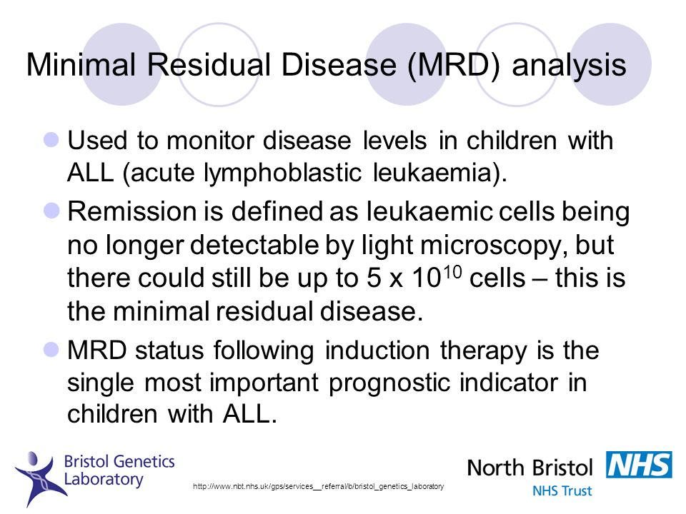 Minimal Residual Disease (MRD) analysis Used to monitor disease levels in children with ALL (acute lymphoblastic leukaemia). Remission is defined as l