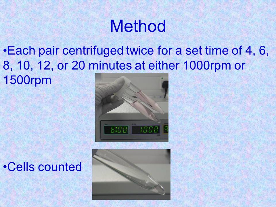 Method The remaining volumes measured Total volume of each tube recorded Retained cells calculated for each tube.