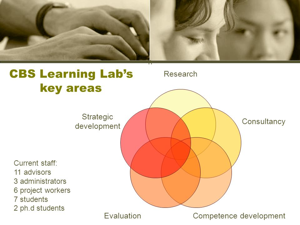 h Research Consultancy Competence development Evaluation Strategic development CBS Learning Labs key areas Current staff: 11 advisors 3 administrators 6 project workers 7 students 2 ph.d students