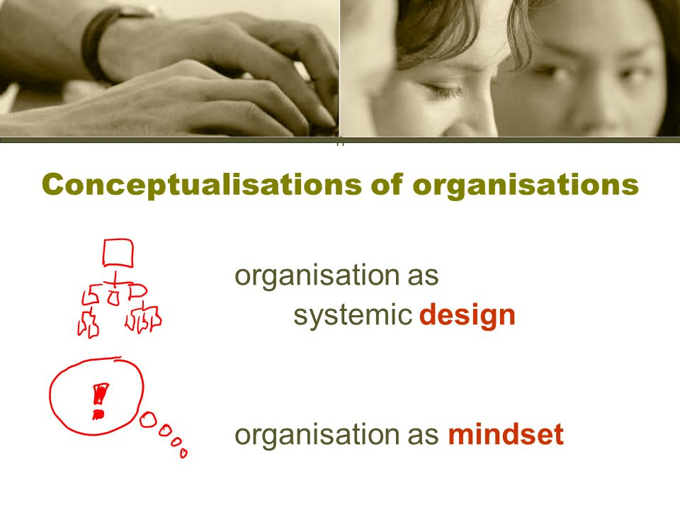 h Conceptualisations of organisations organisation as systemic design organisation as mindset
