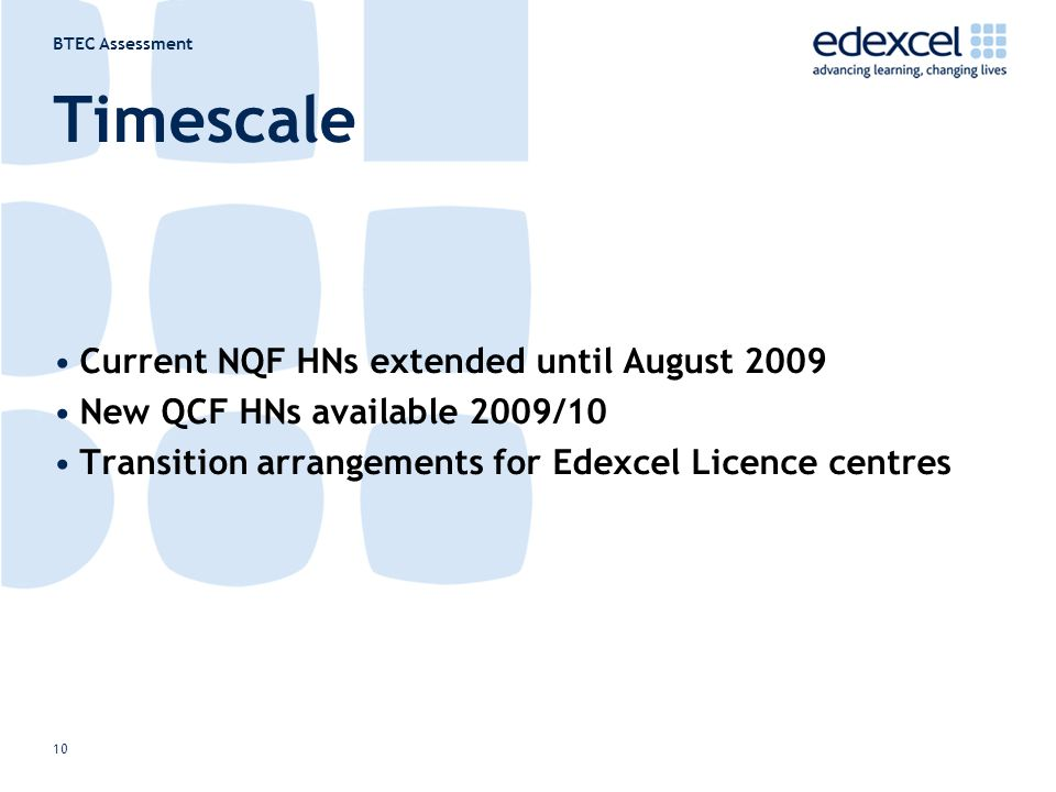 BTEC Assessment 10 Timescale Current NQF HNs extended until August 2009 New QCF HNs available 2009/10 Transition arrangements for Edexcel Licence centres