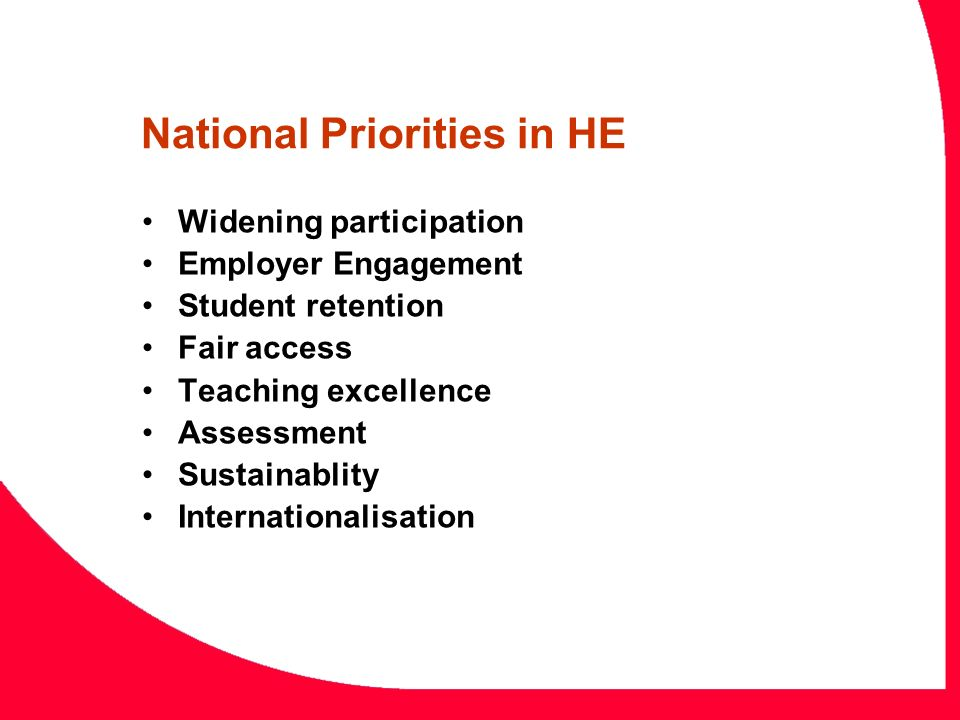 National Priorities in HE Widening participation Employer Engagement Student retention Fair access Teaching excellence Assessment Sustainablity Intern