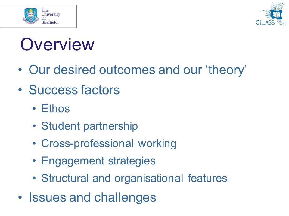 3 Overview Our desired outcomes and our theory Success factors Ethos Student partnership Cross-professional working Engagement strategies Structural a