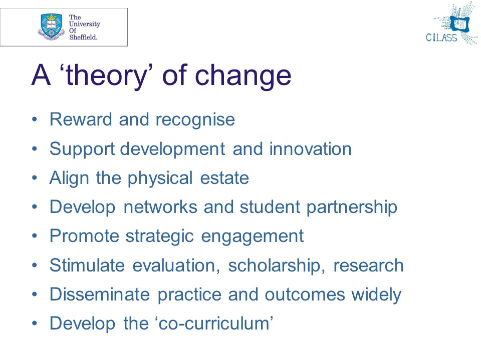 A theory of change Reward and recognise Support development and innovation Align the physical estate Develop networks and student partnership Promote