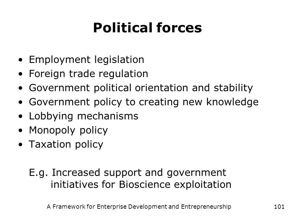 A Framework for Enterprise Development and Entrepreneurship101 Political forces Employment legislation Foreign trade regulation Government political o