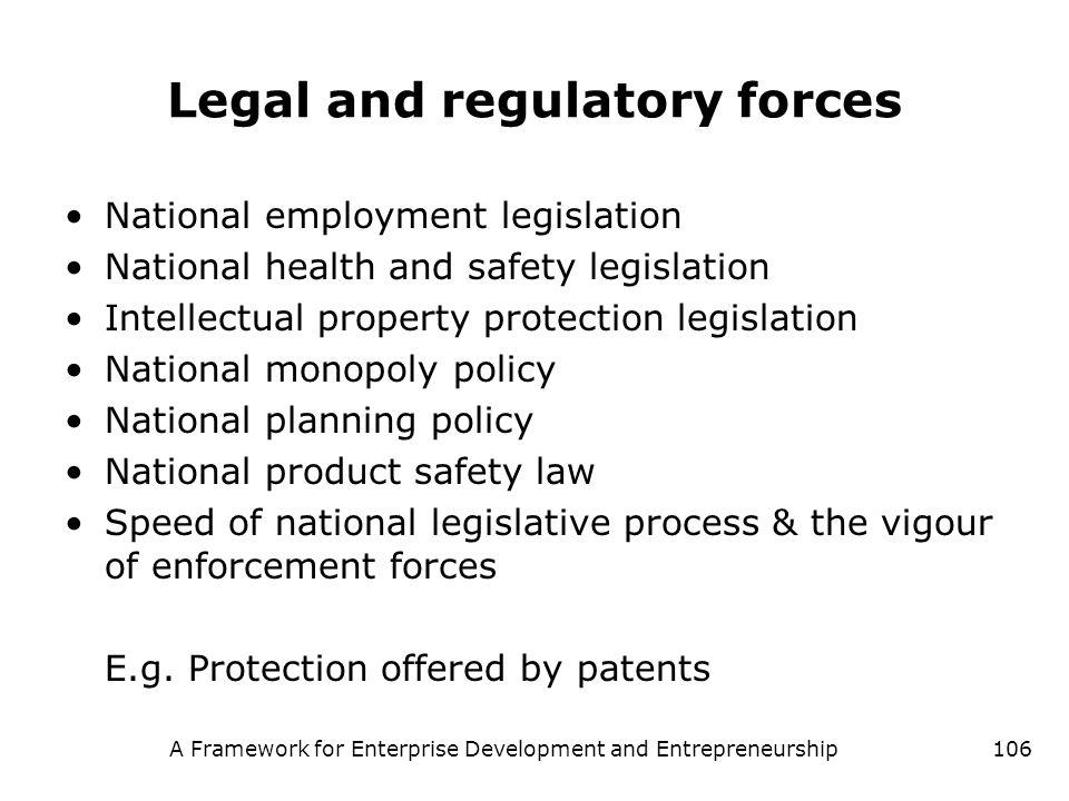 A Framework for Enterprise Development and Entrepreneurship106 Legal and regulatory forces National employment legislation National health and safety