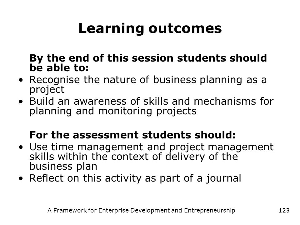 A Framework for Enterprise Development and Entrepreneurship123 Learning outcomes By the end of this session students should be able to: Recognise the