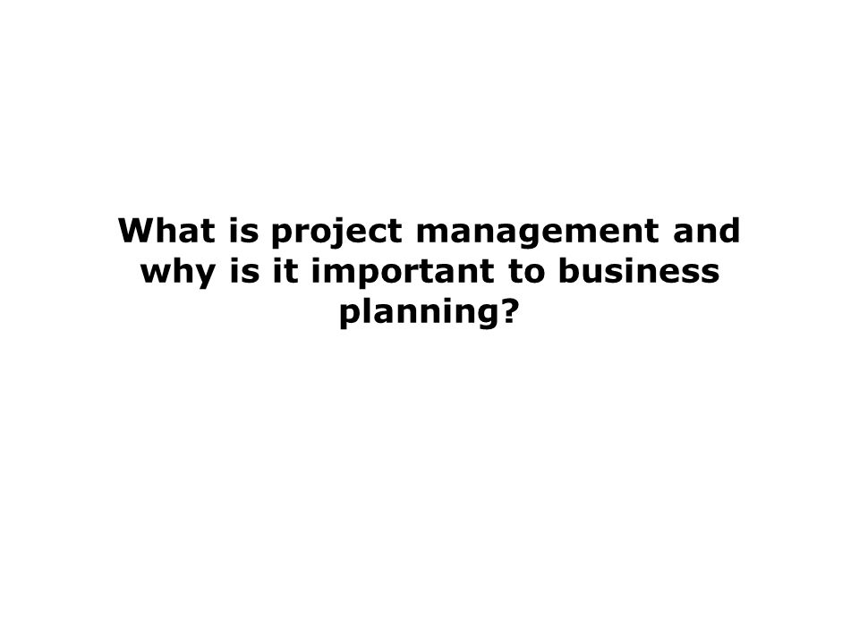 What is project management and why is it important to business planning?