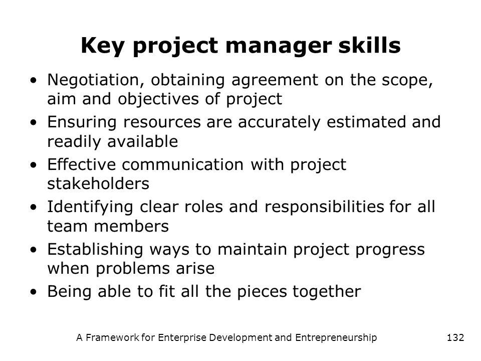 A Framework for Enterprise Development and Entrepreneurship132 Key project manager skills Negotiation, obtaining agreement on the scope, aim and objec