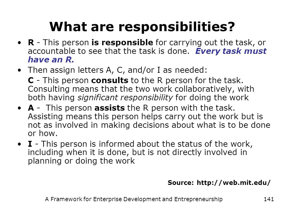 A Framework for Enterprise Development and Entrepreneurship141 What are responsibilities? R - This person is responsible for carrying out the task, or